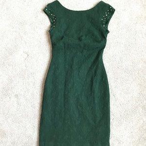 ZARA Dark Green Embellished Dress Size XS